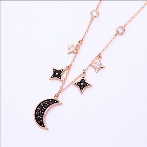 Rose Gold Color Chain w/ Black Crystal Moon
